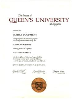 加拿大女王大学金融硕士学位证书